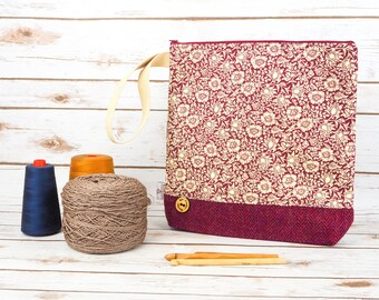 William Morris Wine Mallow Print Project bag with Harris Tweed base