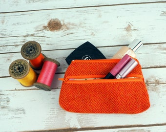 Harris Tweed Large Coin purse - change purse - small pouch - cosmetic bag - wallet for notes and cards - earphone pouch