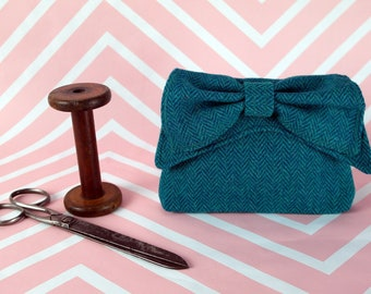 Audrey - Teal Herringbone Harris Tweed Clutch Bag - evening purse - bow - formal - handmade