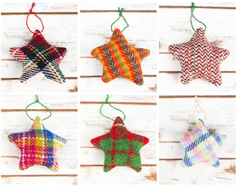 Christmas Stars Decoration - Made from Harris Tweed - Choose from multicoloured tweeds!