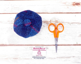 Blue Tartan Harris Tweed Pin Cushion