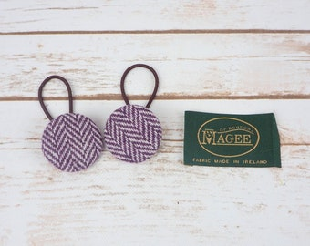 Purple Herringbone Irish Tweed Button Hair Bobbles