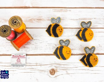 Busy Bee Harris Tweed pin brooch - Choose from Variety!