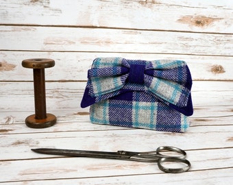 Audrey - Purple, Grey and Blue Check Tartan Harris Tweed Clutch Bag