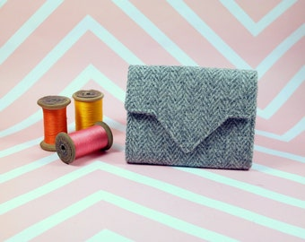 Ladies Light Grey Herringbone Harris Tweed wallet with coin section - money organiser - foldover wallet - purse