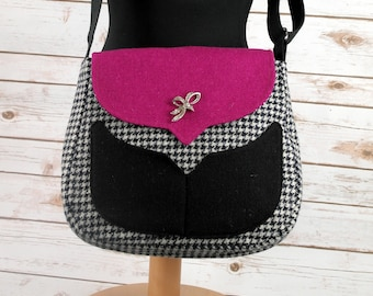 Myrtle - Houndstooth & Pink Harris Tweed Cross Body Bag - Handmade Handbag - Messenger Bag - Casual Bags - Gift for her -Vintage Brooch