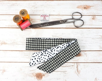 Harris Tweed Black & White Houndstooth Head Band Scarf - Double Sided