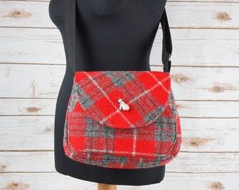 Bella - Red & Grey Tartan Harris Tweed Cross Body Bag - Handmade Handbag - Shoulder Bag - Casual Bags - Gift for her - Vintage Buttons