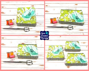 Zipped Pouches: Aqua Floral Cotton and Harris Tweed - Choose Size!