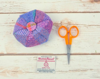 Purple & Blue Tartan Harris Tweed Pin Cushion