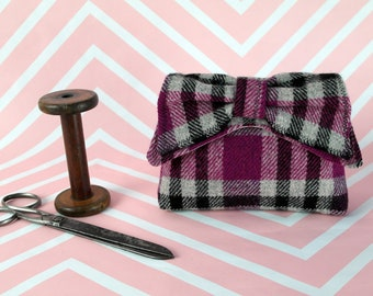 Audrey - Pink Tartan Harris Tweed Clutch Bag - evening purse - bow - formal - handmade