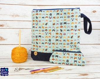 Cat Craft bag with Harris Tweed base & pencil case gift set