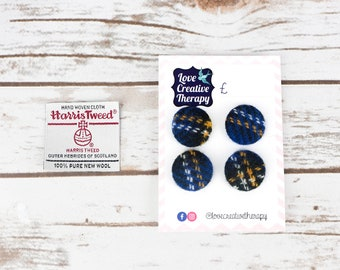 Blue Tartan Harris Tweed Covered Buttons - 23mm
