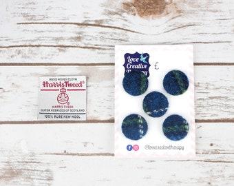 Blue & Green Tartan Harris Tweed Covered Buttons - 23mm
