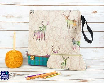 Stag Craft bag with Harris Tweed base & pencil case gift set