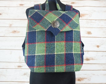 Beulah - Green & Blue Tartan Harris Tweed Backpack
