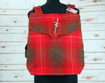 Beulah - Red Tartan Harris Tweed Backpack- Handmade Handbag - Rucksack/ Knapsack - Casual Bags - Gift for her - Vintage Brooch