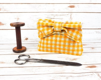 Audrey - Yellow Check Harris Tweed Clutch Bag