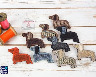 Dachshund Dog Brooches - Harris Tweed pin brooch - Choose from Variety!