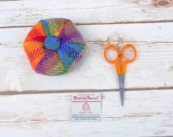 Rainbow Tartan Harris Tweed Pin Cushion