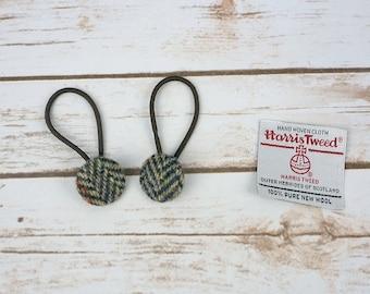 Brown Herringbone Harris Tweed Button Hair Bobbles
