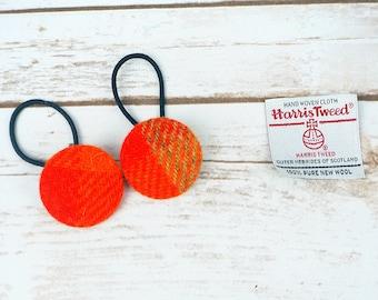 Orange Tartan Harris Tweed Button Hair Bobbles