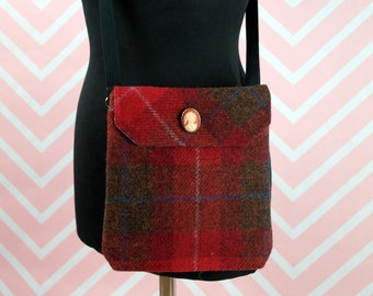 Verity - Red Tartan Harris Tweed cross body handbag - Bum bag - Fanny Pack - Dog Walking Bag