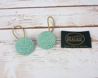 Green Herringbone Irish Tweed Button Hair Bobbles