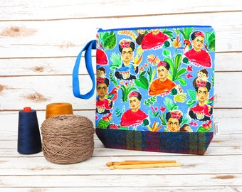 Frida Kahlo Project bag with Harris Tweed base
