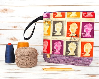 Vintage Stamp Project bag with Harris Tweed base