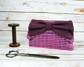 Katharine - Pink Check Houndstooth Harris Tweed Clutch Bag - evening purse - bow - formal - handmade