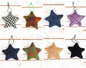 Christmas Stars Decoration - Made from Harris Tweed or Donegal Tweed - Choose from natural and dark tweeds!