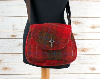 Bella - Red Tartan Harris Tweed Cross Body Bag - Handmade Handbag - Shoulder Bag - Casual Bags - Gift for her - Vintage Buttons