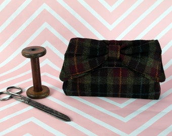 Katharine - Black tartan Harris Tweed Clutch Bag - evening purse - bow - formal - handmade