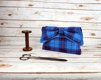 Katharine - Blue Purple Tartan Harris Tweed Clutch Bag - evening purse - bow - formal - handmade
