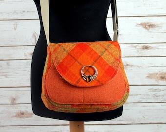 Bella - Orange Tartan Harris Tweed Cross Body Bag - Handmade Handbag - Shoulder Bag - Casual Bags - Gift for her