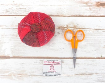 Red Tartan Harris Tweed Pin Cushion