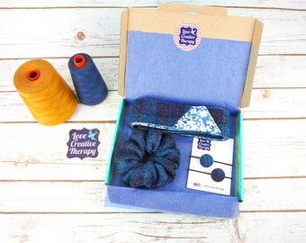 Pastel Check Harris Tweed Hair Accessories Gift Box - Head Band Scarf, Scrunchie and Bobbles