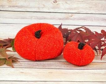 Plush Harris Tweed Pumpkins - Red & Orange Herringbone
