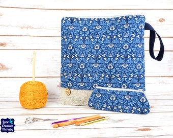 Eyebright William Morris Craft bag with Harris Tweed base & pencil case gift set