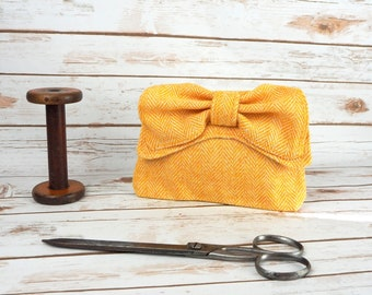 Audrey - Mustard Yellow Herringbone Harris Tweed Clutch Bag - evening purse - bow - formal - handmade