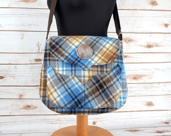 Myrtle - Blue & Oatmeal Tartan Harris Tweed Cross Body Bag - Handmade Handbag - Messenger Bag - Casual Bags - Gift for her -Vintage Brooch
