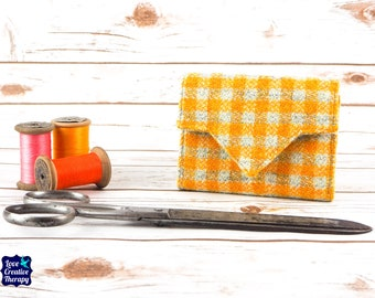Yellow & Oatmeal Check Harris Tweed Small Ladies Wallet with Coin Section