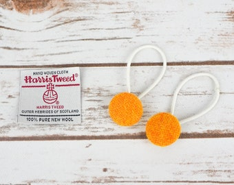 Mustard Yellow Harris Tweed Button Hair Bobbles