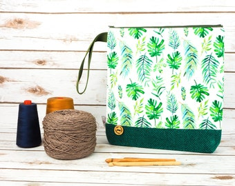 Monstera & Fern Plant Print Project bag with Harris Tweed base