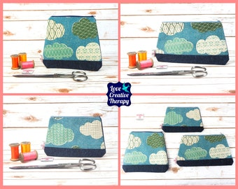Zipped Pouches: Clouds Cotton and Harris Tweed - Choose Size!