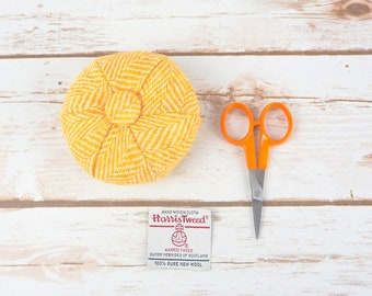 Yellow Herringbone Harris Tweed Pin Cushion