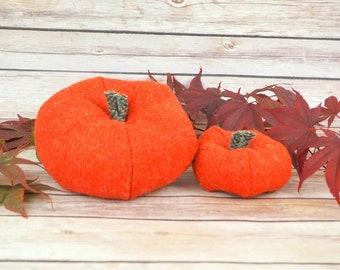 Plush Harris Tweed Pumpkins - Set of two in darker Orange twill