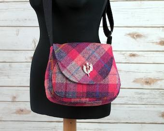 Bella - Pink Tartan Harris Tweed Cross Body Bag - Handmade Handbag - Shoulder Bag - Casual Bags - Gift for her - Vintage Buttons
