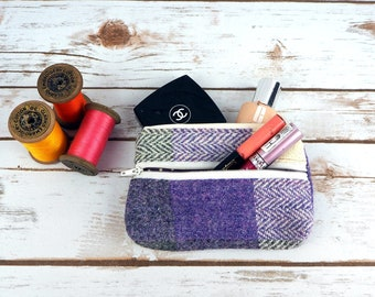 Patchwork Harris Tweed Large Coin Purse - cosmetic bag